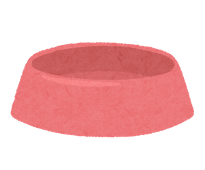 ピンク色の犬のお皿